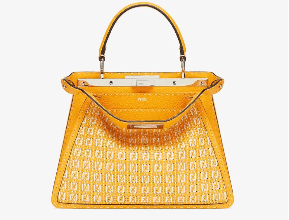 フェンディのおすすめバッグ ピーカブー アイシーユー ミディアム オレンジ&ホワイトレザーブレードバッグ